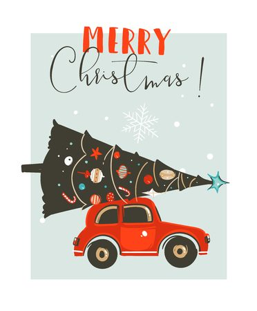 Hand drawn vector Merry Christmas time cartoon graphic illustration card design template with red car,xmas tree and modern typography Merry Christmas isolated on white background