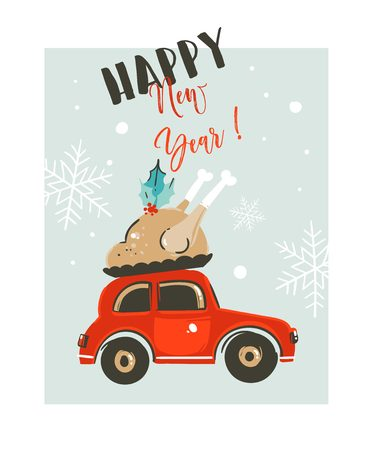 Hand drawn vector Merry Christmas time cartoon graphic illustration card design template with red car delivers turkey for dinner and modern typography Happy New Year isolated on white background