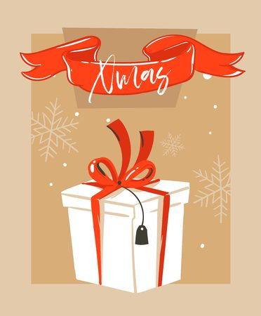 Hand drawn vector abstract fun Merry Christmas time cartoon illustration greeting card with big white surprise gift box and Merry Xmas typography isolated on craft paper background. Illustration
