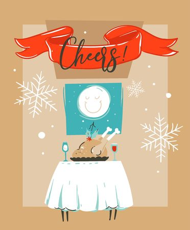 Hand drawn vector abstract fun Merry Christmas time cartoon illustration card template with Christmas food on table and moon in window isolated on craft paper background.
