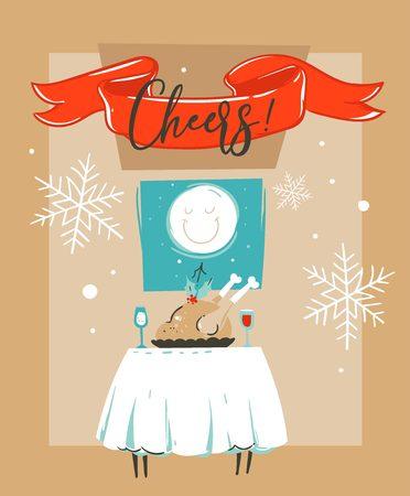 Tiré par la main vecteur joyeux fun joyeux noël illustration de dessin animé modèle de dessin animé avec de la neige de noël sur la table et la lune dans la fenêtre isolé sur fond de papier. fond de papier d & # 39 ; écran Banque d'images - 91626902