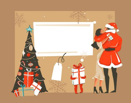 Hand drawn vector abstract fun Merry Xmas time cartoon retro vintage illustrations card with romantic couple who kissing and hugging,xmas tree and place for your text isolated on white background