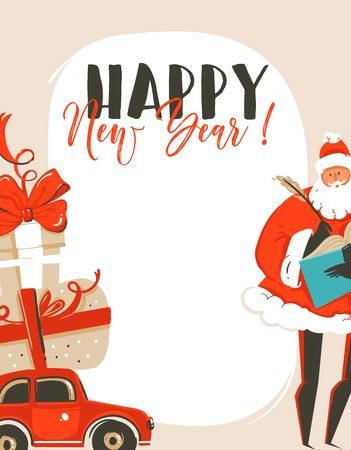 Happy New Year cartoon illustration greeting card