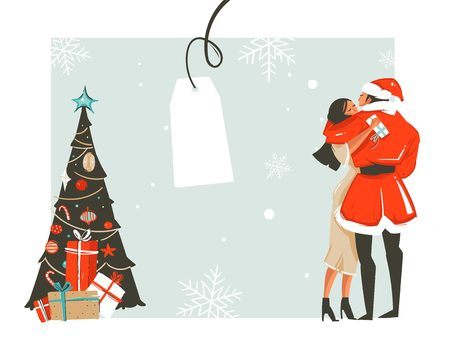 Hand drawn vector abstract fun Merry Christmas time cartoon illustration with romantic couple who kissing and hugging, xmas tree and place for your text isolated on white background