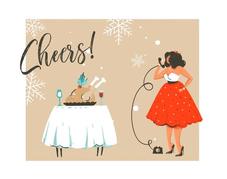 Hand drawn vector abstract Merry Christmas and Happy New Year time retro vintage cartoon illustration greeting card with beautiful woman in dress and modern typography isolated on white background Illustration