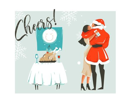 Hand drawn vector abstract Merry Christmas time cartoon retro vintage illustrations card with romantic couple who kissing and hugging,xmas dinner and Cheers text isolated on white background Illustration
