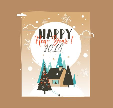Hand drawn vector abstract Merry Christmas and Happy New Year time cartoon illustrations greeting card template with outdoor landscape,house and snowfall isolated on white background Ilustração