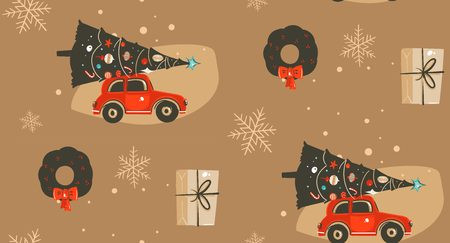 Hand drawn vector abstract Merry Christmas and Happy New Year time cartoon illustrations greeting seamless pattern with xmas tree,car and surprise gift boxes isolated on brown background