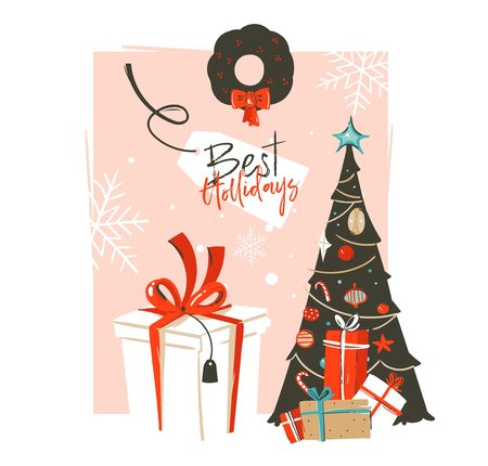 Hand drawn vector abstract Merry Christmas and Happy New Year time vintage cartoon illustrations greeting card template with xmas tree,gift box and typography text isolated on pink pastel background
