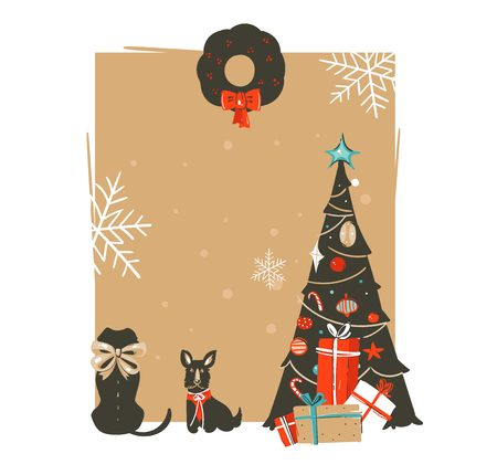 Hand drawn vector abstract Merry Christmas and Happy New Year time vintage cartoon illustrations greeting card template with xmas tree,pet dogs and place for your text isolated on brown background.