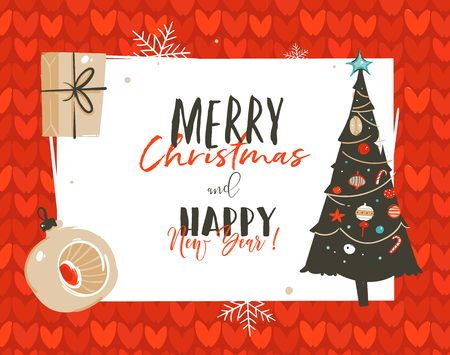 Hand drawn vector abstract Merry Christmas and Happy New Year time cartoon illustrations greeting card template tag with surprise gift boxes and xmas tree isolated on white background Illustration