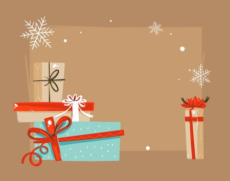 Hand drawn vector abstract Merry Christmas and Happy New Year time vintage cartoon illustrations greeting card template with surprise gift boxes and place for your text isolated on brown background Vectores