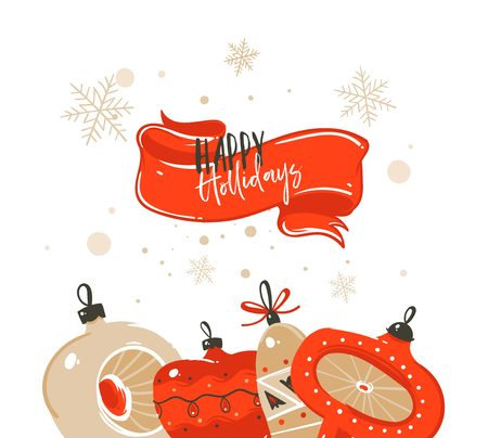 Hand drawn vector abstract Merry Christmas and Happy New Year time cartoon illustrations greeting header template with xmas tree bauble toys and typography text isolated on white background Stock Photo