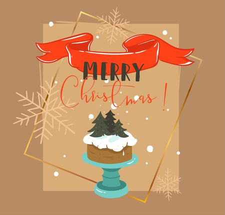 Hand drawn vector abstract Merry Christmas and Happy New Year time retro cartoon illustrations greeting card with cake stand design,mistletoe wreath and modern typography isolated on brown background Stock Photo