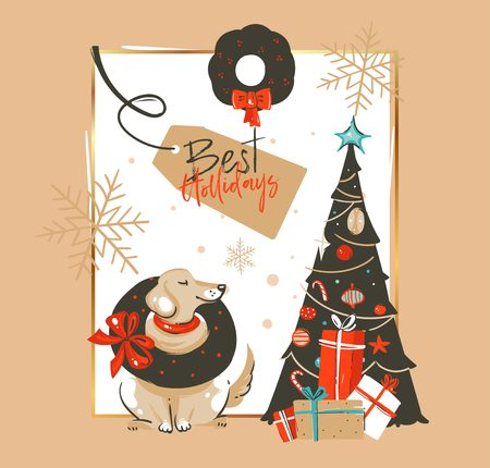 Hand drawn vector abstract Merry Christmas and Happy New Year time vintage cartoon illustrations greeting card template with labrador dog and decorated xmas tree isolated on brown background