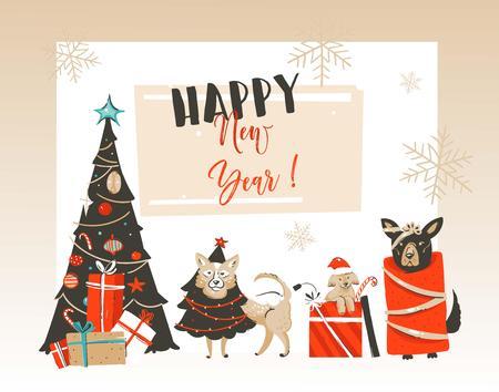 Bergeben Sie gezogene Karikaturillustrations-Grußkarte der Vektorzusammenfassung frohen Weihnachten und des guten Rutsch ins Neue Jahr mit Weihnachten verziertem Baum, Haustiersäugetierhunden und der modernen Typografie, die auf weißem Hintergrund lokalisiert wird. Standard-Bild - 92069576