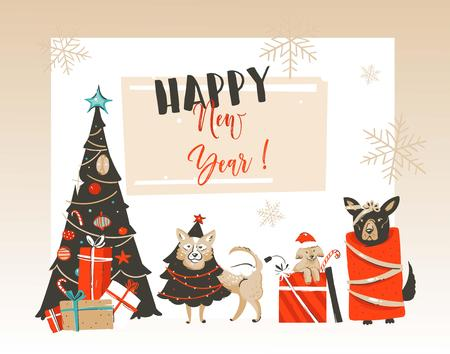 Hand drawn vector abstract Merry Christmas and Happy New Year cartoon illustrations greeting card with xmas decorated tree,pet mammal dogs and modern typography isolated on white background.