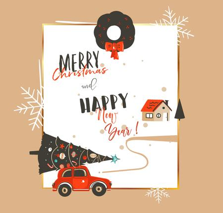 Hand drawn vector abstract Merry Christmas and Happy New Year time vintage cartoon illustrations greeting card template withcar, xmas tree,house and modern typography isolated on white background Ilustracja