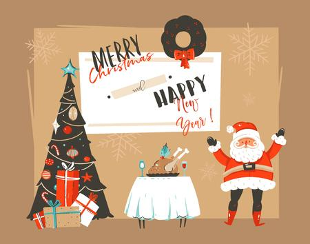 Hand drawn vector abstract Merry Christmas and Happy New Year cartoon illustrations greeting card with xmas decorated tree,Santa Claus and holiday dinne table isolated on craft paper background.