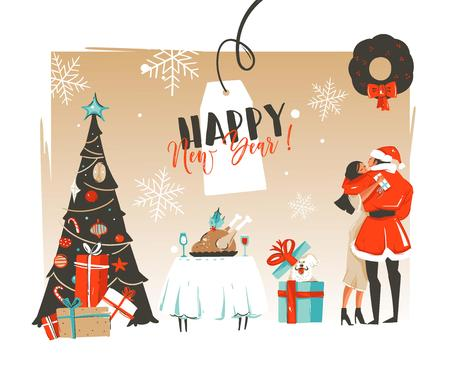 Hand drawn vector abstract Happy New Year time cartoon illustrations retro card with romantic couple who kissing and hugging under the mistletoe,xmas tree and dinner table isolated on craft background Illustration