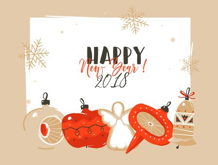 Hand drawn vector abstract Merry Christmas and Happy New Year 2018 time cartoon illustrations greeting header template with xmas tree bauble toys and typography text isolated on white background