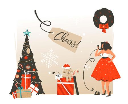 Hand drawn vector abstract Merry Christmas and Happy New Year time retro vintage cartoon illustration greeting card with beautuful woman in dress and dog in gift box isolated on white background