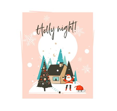 Hand drawn vector abstract Merry Christmas and Happy New Year time cartoon illustrations greeting card template with outdoor landscape,house and Santa Claus isolated on white background