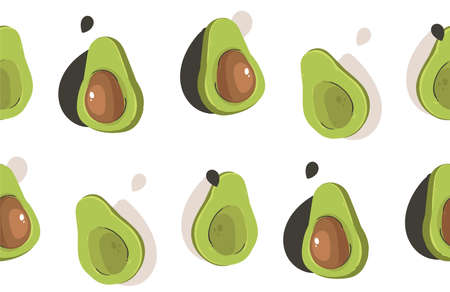 Hand drawn vector abstract modern cartoon avocado seamless pattern print collage isolated on white background