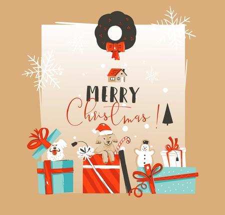 Dibujado a mano vector abstracto feliz Navidad y feliz año nuevo plantilla de tarjeta de felicitación vintage ilustraciones de dibujos animados con perros mascotas en caja de regalo sorpresa aislado sobre fondo blanco Ilustración de vector