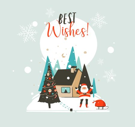 手描きベクトル抽象メリークリスマスとハッピーニューイヤー漫画イラストは、屋外の風景、家とサンタクロースが白い背景に隔離されたカードテ