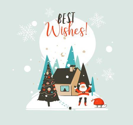 Hand getekend vector abstracte prettige kerstdagen en gelukkig Nieuwjaar tijd cartoon illustraties wenskaartsjabloon met buiten landschap, huis en Santa Claus geïsoleerd op een witte achtergrond Stockfoto - 92138748