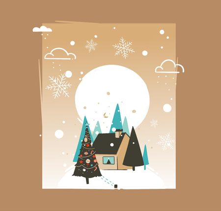 Hand drawn vector abstract Merry Christmas and Happy New Year time cartoon illustrations greeting card template with outdoor landscape,house and snowfall isolated on brown background Illustration