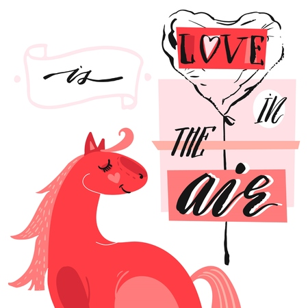 Hand drawn vector abstract unique cartoon Valentines day concept card template with cute horse,heart shape ballon and modern ink calligraphy phase Love is in the air in pastel colors isolated on white