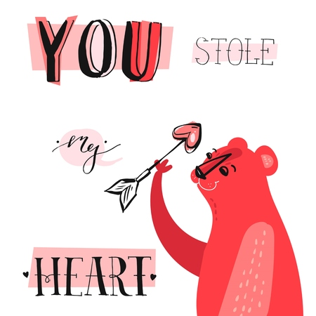 Hand drawn vector abstract unique cartoon Valentines day concept card template with cute bear,heart shape arrow and modern ink calligraphy phase You stole my heart in pastel colors isolated on white