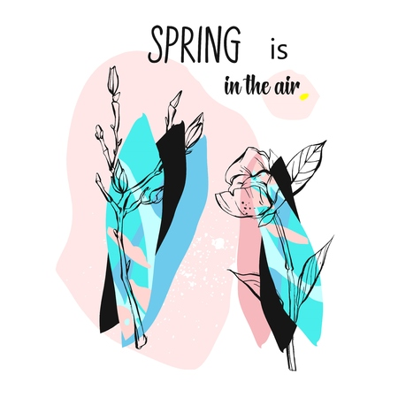 Hand drawn vector abstract universal creative textured illustrations with floral branch and freehand made textures in pastel colors isolated on white background.Spring is in the air cover concept