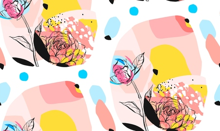 Hand made vector abstract textured trendy creative universal collage seamless pattern with floral peony motif isolated on white background with different textures and shapes.Modern springc design