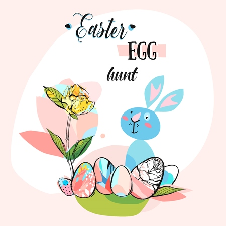 hand drawn vector abstract creative cute Easter greeting card template with graphic flowers,eggs,funny rabbit and phase Easter egg hunt in pastel colors.Spring decoration background concept design.