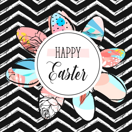 Hand drawn vector abstract creative Happy Easter greeting card design template with painted Easter eggs collection and Happy Easter phase isolated on black and white zig zag line chevron background