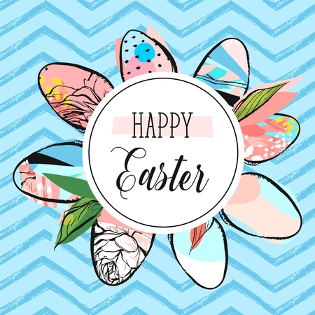Hand drawn vector abstract creative Happy Easter greeting card design template with painted Easter eggs collection and Happy Easter phase isolated on blue color trendy zig zag line chevron background