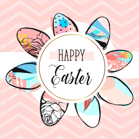 Hand drawn vector abstract creative Happy Easter greeting card design template with painted Easter eggs collection and Happy Easter phase isolated on pastel color trendy zig zag chevron background 向量圖像