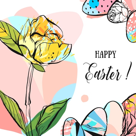 Hand drawn vector abstract creative Happy Easter greeting card design template with illustrations of Easter eggs,Happy Easter phase and flower in yellow,green and pastel colors on white background. 版權商用圖片 - 92677949