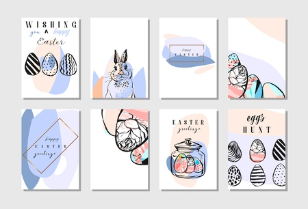 Hand drawn vector abstract creative Happy Easter greeting card design collection set template with flowers,Easter eggs and bunny in pastel colors isolated on white background.Spring Easter backgrounds