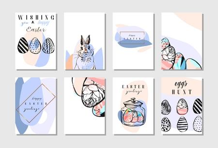 Mano dibujada vector abstracto creativo Feliz Pascua tarjeta de felicitación diseño colección conjunto de plantilla con flores, huevos de Pascua y conejito en colores pastel aislados sobre fondo blanco. Primavera fondos de Pascua