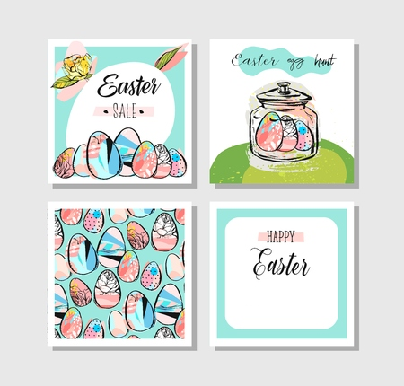 Hand drawn vector abstract, creative Happy Easter greeting card design collection set template