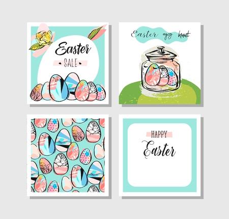 Hand getekend vector abstract, creatief Happy Easter wenskaart ontwerp collectie set sjabloon