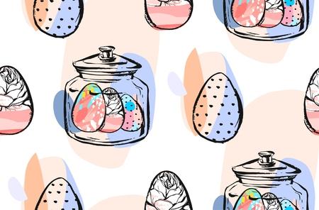 Hand gemaakte vector abstracte grafische naadloze het patrooncollage van Pasen met glaskruik en Pasen geschilderde eieren in pastelkleuren die op witte achtergrond worden geïsoleerd.