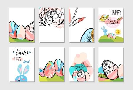 Creative Easter greeting card design collection set Иллюстрация