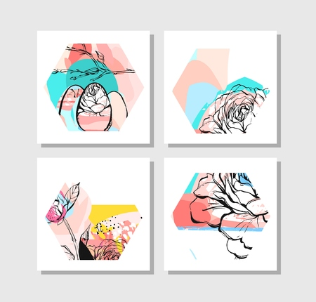 Hand drawn vector abstract creative unusual modern hexagon shape cards collection set with flowers and spring motifs collage isolated on white background.