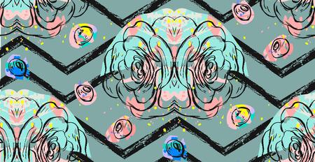 Hand getekend abstract getextureerde collage patroon