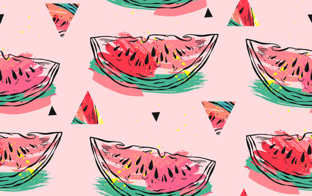 Hand drawn vector abstract collage seamless pattern with watermelon motif,triangle hipster shapes and artistic freehand textures isolated on pink pastel background.